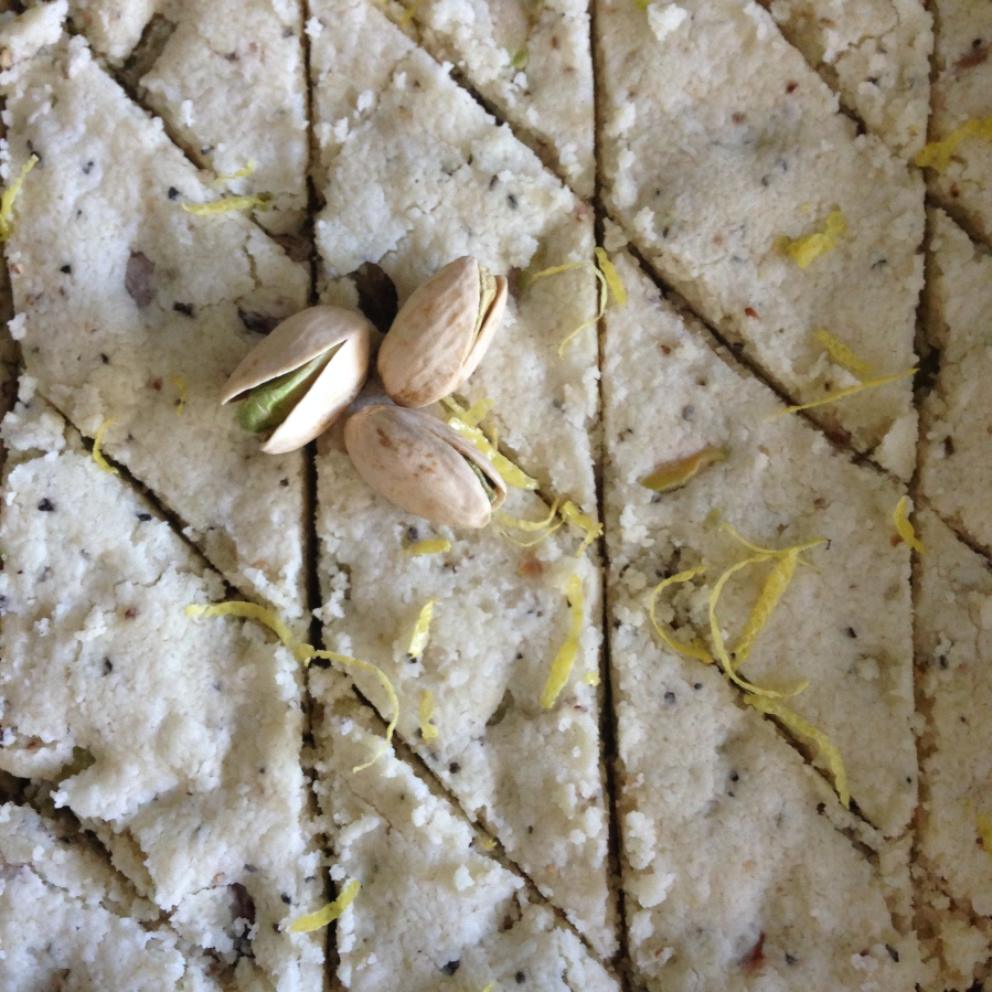 Vegan Shortbread with Pistachio, Black Pepper & Lemon